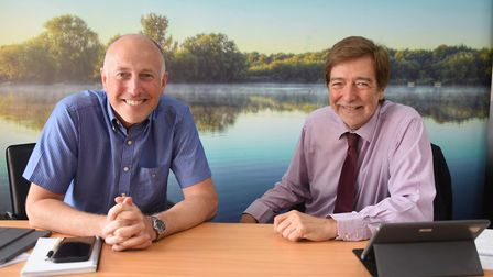 Angling Direct executive chairman, Martyn Page, right, and CEO Darren Bailey, at their Rackheath dis
