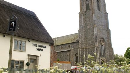 The Ingham Festival will be held next weekend. Picture shows The Ingham Swan and the village church.