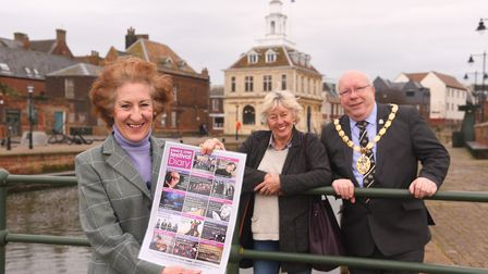The King's Lynn Festival. Pictured are (from left) Alison Croose, Issy Smith and Borough Mayor David