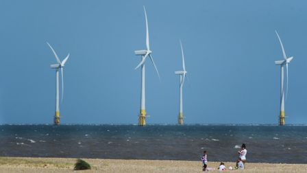 The Scroby Sands Wind Farm off Great Yarmouth beach where E.ON and the RSPB are working together to