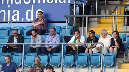 Norwich City's managing director Steve Stone, sporting director Stuart Webber and members of City's