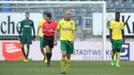 The Norwich players looks dejected after conceding their side's 1st goal during the Pre-season Frien