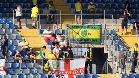 The traveling Norwich fans during the Pre-season Friendly match at the Schuco-Arena, Bielefeld, Germ