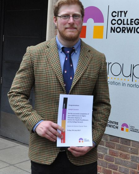 Joseph Cousens, from Hingham, has completed an access course in science for health practitioners at