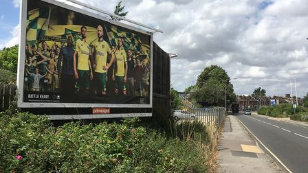 A billboard advertising Norwich City's new home kit has been put up in Ranelagh Road. Picture: ADAM