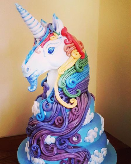 'Barry' the unicorn cake Kate Barmby has created for the Assembly House's Rainbow Unicorn Afternoon
