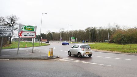 Fiveways roundabout in Mildenhall. Picture: Gregg Brown