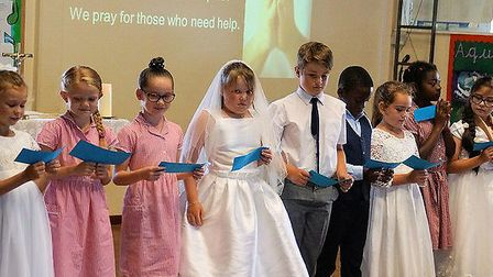 Some of the St Mary's primary school pupils at the 50th anniversary Mass. Pictures: Keith Morris