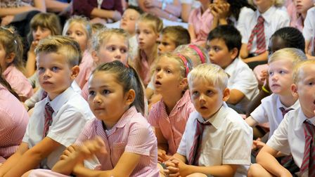 Some of the St Mary�s primary school pupils at the 50th anniversary Mass. Pictures: Keith Morris