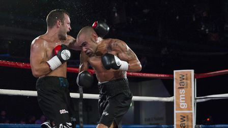 Zaiphan Morris, right, and Luke Fash do battle. Picture: Jerry Daws/Stillfocusedmedia