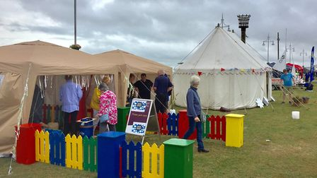 Stalls set up on Royal Green in Lowestoft as the Lowestoft Summer Festival 2017 gets under way. Pict
