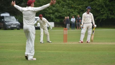 Fakenham players appeal for a wicket at Old Buckenham on Saturday. Picture: Snoya Duncan