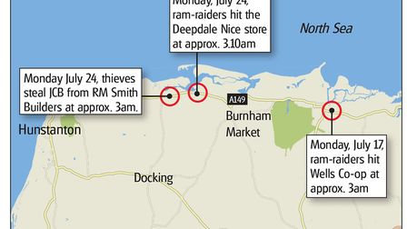 A map showing locations of the two ram raids. Graphic: ARCHANT.