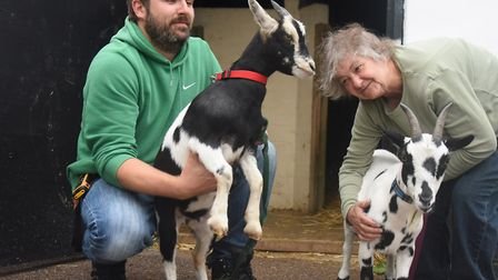 Chris Rockingham, co-founder, and David Barnett, acting manager, with the goats at the PACT Animal S