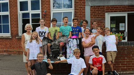 Tina Casburn with students from Aldborough Primary School. Picture: The Publicity Works.