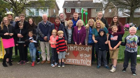 The King's Head Meadow Playscape Group at their Easter picnic in the park. Pictured left to right ar
