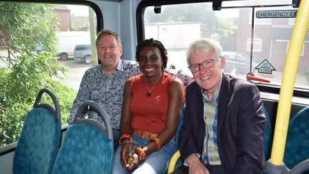 Jon Smith, who donated the original bus, with Eunice Kokrasset and Norman Lamb. Picture: Jon Smith