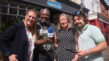 The launch of Harbour Radio at Great Yarmouth. Station manager and CEO, Nevv Moore, 2nd left, and Ar