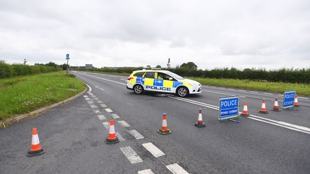The road closed at Mendlesham following the fatal collision Picture: ARCHANT