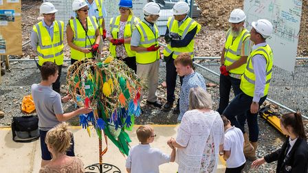 The topping out ceremony held at the new Chapel Green School, in Old Buckenham, which will replace C