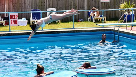 Youngsters enjoy swimming in Beccles Lido during the hot weather.Picture: Nick Butcher