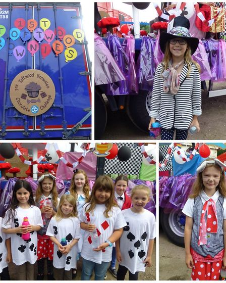 1st Toftwood Brownies with their winning Dereham Carnival float. Picture: Katie Theobald