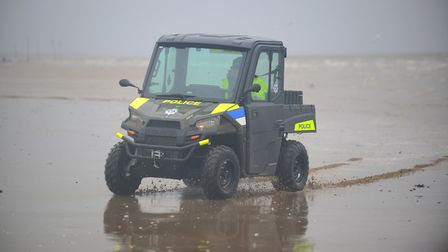 The new Police All-Terrain vehicle on the beach at Hunstanton. Picture: Ian Burt