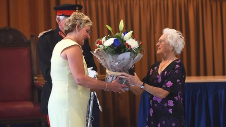 During a special service, Hilda Smith was presented with the Defence Medal by the Lord Lieutenant of
