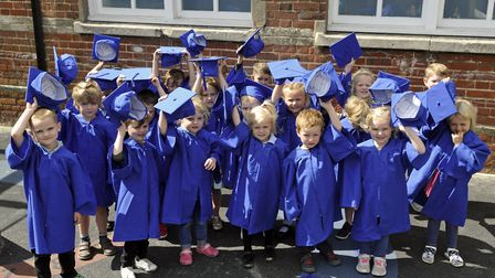 Youngsters at the School Lane Pre-School graduation ceremony in Sprowston. Picture: IAN REES