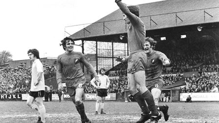 Dave Stringer celebrates his winning goal at Watford that secured the Division Two title. Picture: A