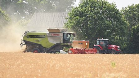 Harvesting of winter barley at a farm near Elmswell. Picture: GREGG BROWN