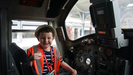 James Heath enjoying a ride in the train cab on Greater Anglia�s 10.36 Norwich to Great Yarmouth ser