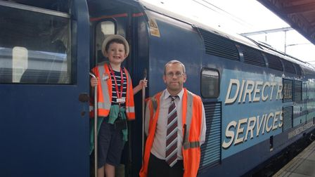 James Heath with driver Steve Goodrum. Picture: courtesy of Greater Anglia