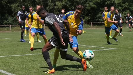 Michee Efete of Norwich in action during the Pre-season Friendly match at Hotel Klosterpforte, Harse