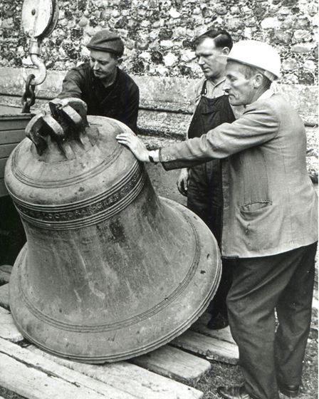 A recast bell in 1967 just before it was installed at Wymondham Abbey. Picture: Courtesy of Wymondha