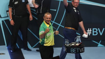 Darren Webster celebrates his 13-11 win over James Wade at the World Matchplay. Picture: Lawrence Lu