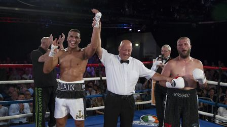 Iain Martell celebrates after beating Jindrich Velecky at Epic Studios in Norwich. Picture: Jerry D