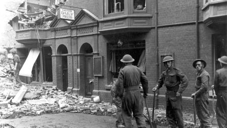 Sid Cook's house in Garden Street after the raid, with the EDP sign indicating this was the place t