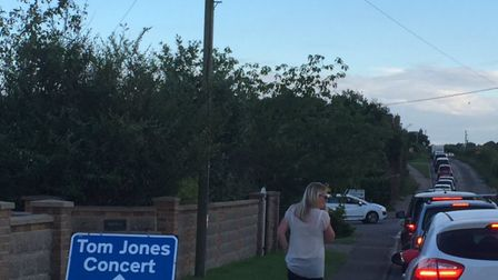 The queues on the way to the Tom Jones concert at Holkham Hall, after a crash at Fakenham. Picture: