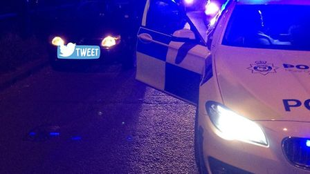 Police used a stinger to stop a Ford Fiesta on Sweet Briar Road. Photo: Police