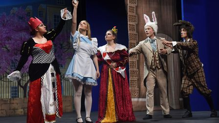 Norwich Theatre Royal Youth Company rehearse Alice Back in Wonderland. From left, Red Queen played b
