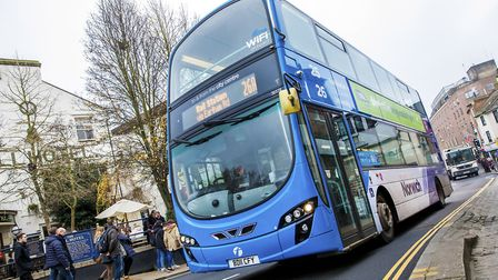 A first bus makes its way through Norwich. Pic: Edward Starr Photographer.