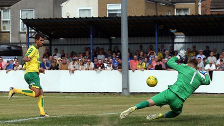 Nelson Oliveira scores City's fourth goal in their friendly win at Lowestoft. Picture by Paul Chest