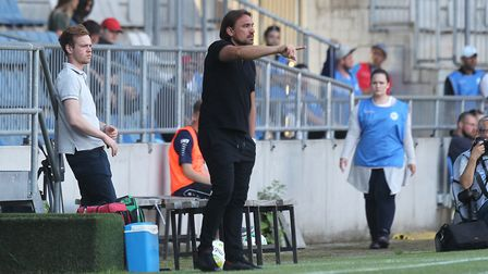 Daniel Farke directs operation for Norwich City at Bielefeld. Picture: Paul Chesterton/Focus Images