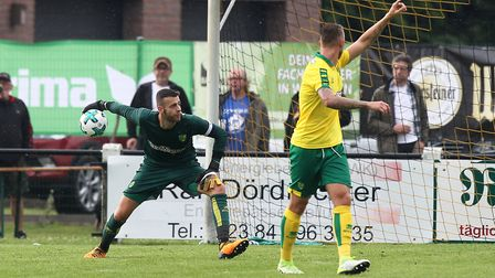Angus Gunn made a fine stop late on at Bielefeld. Picture: Paul Chesterton/Focus Images Ltd