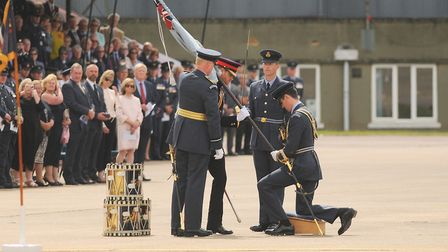 On behalf of Her Majesty the Queen, HRH Prince Henry of Wales presented the new colour at RAF Honing