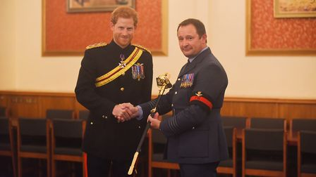 At RAF Honington, HRH Prince Henry of Wales awarded the Firmin Peace Sword of Peace to the RAF Polic