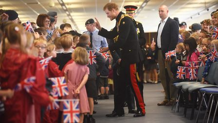 HRH Prince Henry of Wales meeting the staff at RAF Honington and children and parents from the local