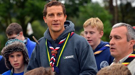 Chief scout Bear Grylls during a visit to Firtton Lake for a scouting day Photo: Bill Smith