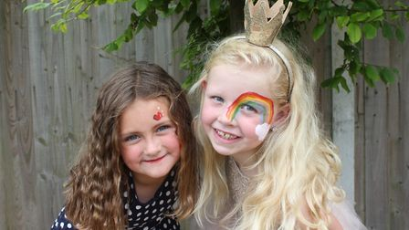 Six-year-old Sheringham Carnival princess Lottie Cunningham-Brown with pal Maisy, also 6. Picture: K